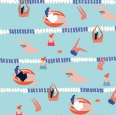 游泳插画平铺图