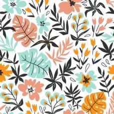 植物涂鸦平铺图案