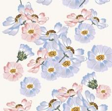 粉紫色调花卉平铺图案