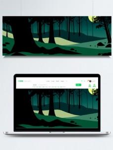 森林剪影背景夜晚绿色