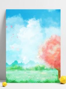 纯原创手绘风景蓝天白云插画背景
