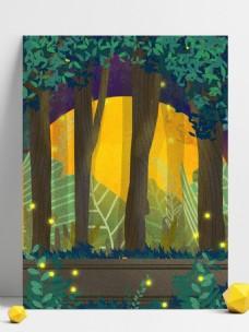 手绘治愈系夜晚树林插画背景