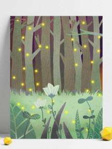 春季唯美手绘树林背景设计