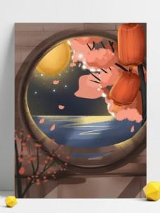 手绘樱花湖面背景设计