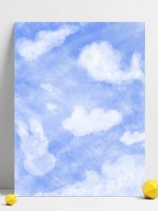 纯原创手绘可爱卡通风格蓝天白云背景