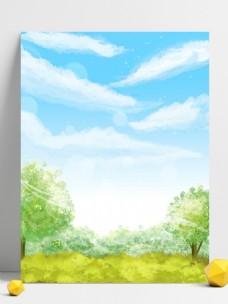 纯原创春天小清新蓝天白云树林背景