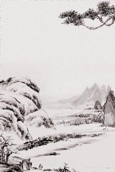 大气水墨山石松树背景