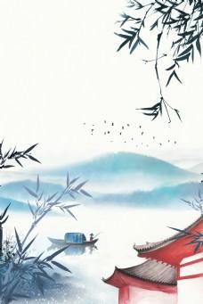 复古中国风水墨山水中式建筑背景