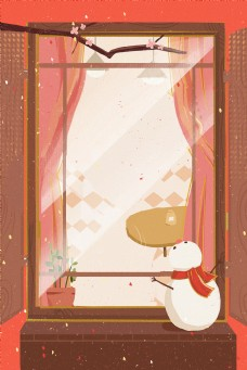 红色窗户下雪天中国风卡通背景