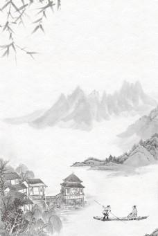 大气中国风水墨山水背景