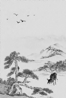 大气复古水墨山水松树背景