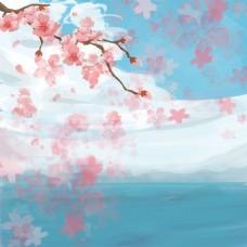 粉色桃花花瓣浪漫主图背景