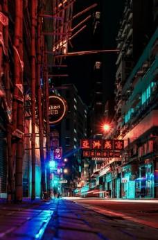 香港街道夜景