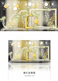 春日阳光几何造型装饰双色拱门婚礼效果图