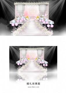 粉色浪漫婚礼舞台效果图
