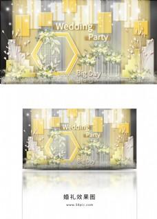 春天阳光黄白礼物包装装饰阶梯婚礼效果图