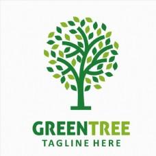 绿叶树木元素标志