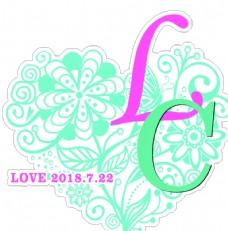 婚礼logo 清新  爱心