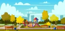 秋季公园插画