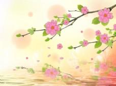 手绘工笔花枝立体背景墙壁画