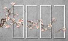 简约立体白框树枝花卉创意背景