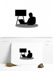 可商用高清手绘商务办公人物剪影