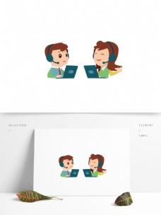 可商用高清手绘卡通形象客服图标