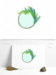 手绘绿色小清新谷雨绿叶边框商用装饰素材
