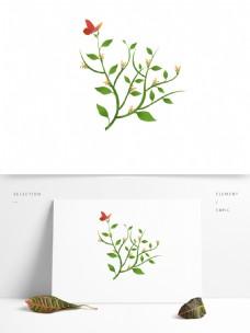 春天元素花朵绿叶绿色植物蝴蝶采蜜场景