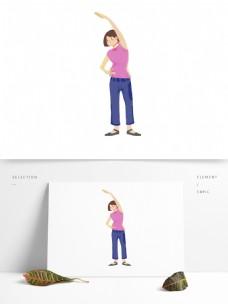 卡通早晨晨练做体操的女人