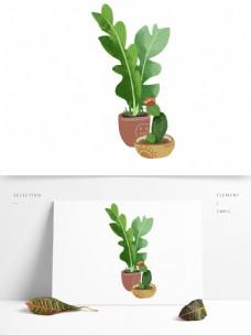 卡通手绘两盆盆栽设计