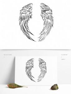 天使翅膀花纹纹理线稿素材