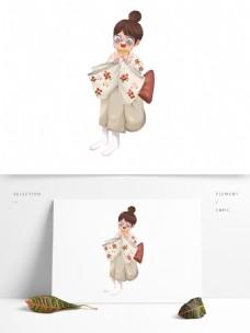 手绘可爱吃饼干的日本女孩
