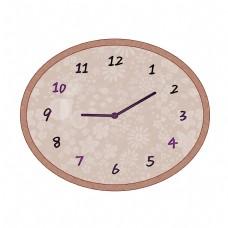 木质花草纹椭圆形钟表