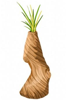 发芽的木头装饰插画