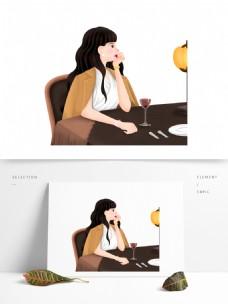 复古手绘吃独自吃晚餐的女孩
