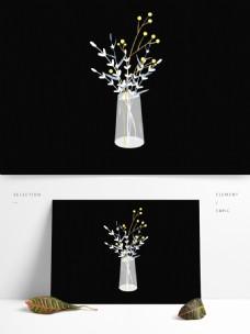 白色清新植物盆栽插画png素材