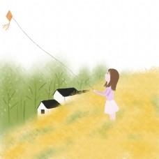 油菜花田里放风筝的女孩手绘插画免费下载