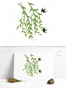 春天元素场景绿叶绿色植物柳树燕子