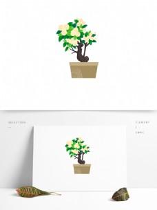 手绘春天小清新风格盆栽商用素材