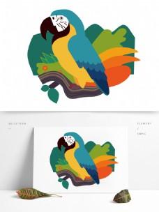 绿色背景质感手绘站在树枝上的鹦鹉插画元素