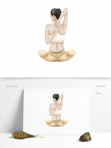 创意手绘做瑜伽运动的女人