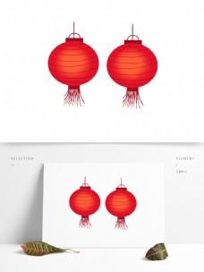 红色卡通灯笼装饰素材
