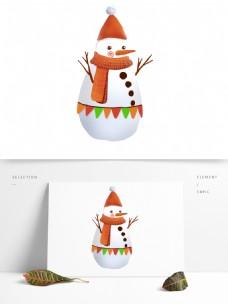 白色可爱卡通冬季雪人png元素