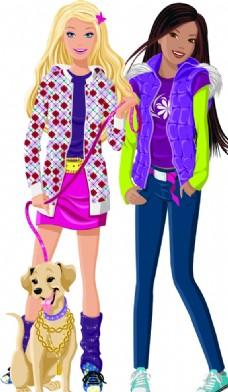 卡通时尚女孩和狗矢量