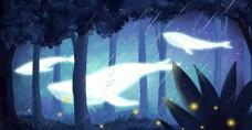 夜晚森林鲸鱼