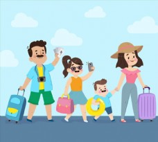 卡通夏季旅行一家四口