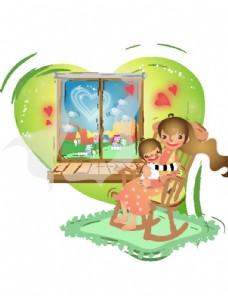 卡通人物孩子生活插画图案