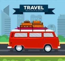 红色旅行度假面包车