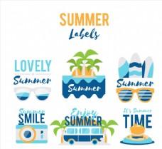 清新蓝色夏季元素标签
